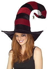 Rubies - Funky Burgundy Striped Witch Hat