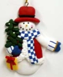 Clay Christmas Snowman With Tree Ornament