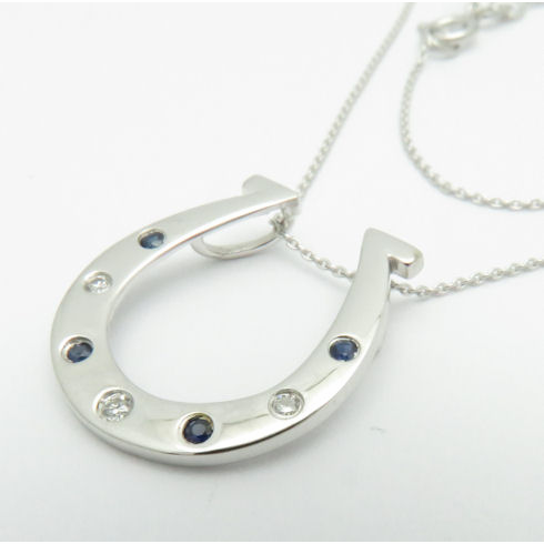 14K WHITE GOLD DIAMOND AND BLUE SAPPHIRE HORSESHOE NECKLACE VS2-SI1 16-18inch