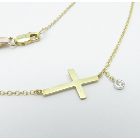 Meira T 14K Yellow Gold Sideways cross with diamond 16inches