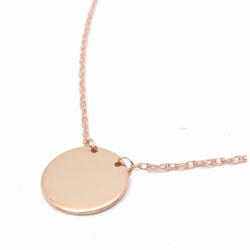 14K SOLID ROSE GOLD 3/8inch FLAT DISC NECKLACE
