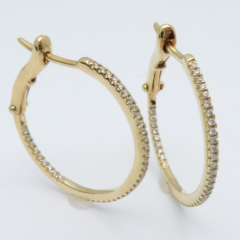 14K YELLOW GOLD DIAMOND INSIDE OUT HOOPS LEVER BACKS .24CT