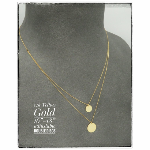 """14K Yellow Gold Double Disc Necklace 18"""""""