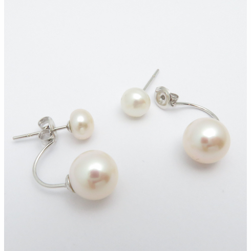 14K WHITE GOLD FRONT AND BACK PEARL DANGLE DROP EARRRINGS