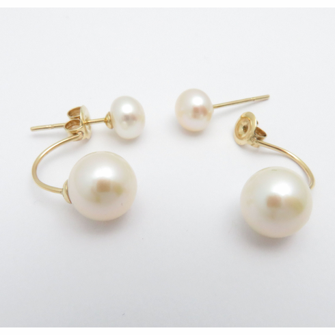 14K YELLOW GOLD FRONT AND BACK PEARL DANGLE DROP EARRINGS