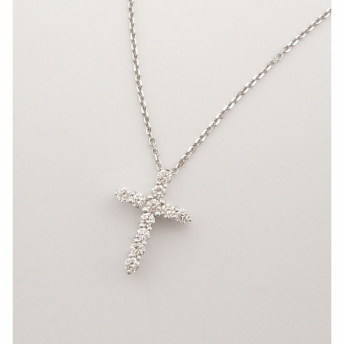 14K WHITE GOLD PRONG SET CROSS NECKLACE.  VS2-SI1 .14CT