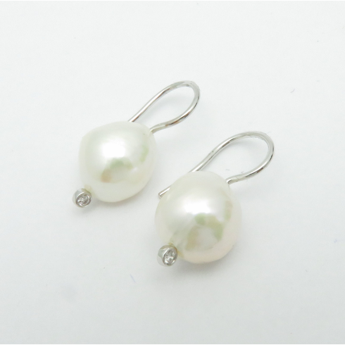 14K SOLID WHITE GOLD PEARL DANGLE DROP EARRINGS WITH DIAMONDs 7/8inch