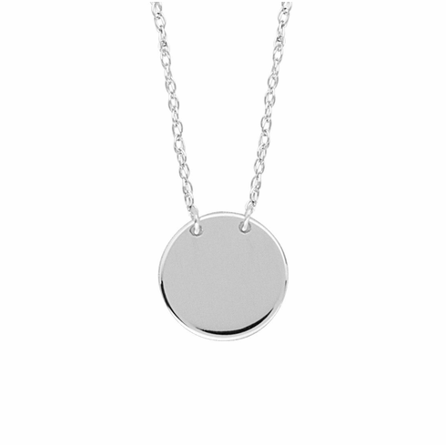14K SOLID WHITE GOLD ROUND FLAT 3/8 inch DISC NECKLACE