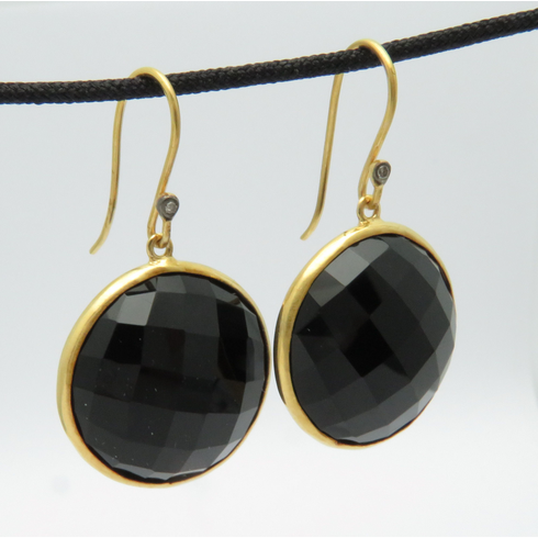 14K SOLID YELLOW GOLD BLACK SPINEL AND DIAMOND DANGLE EARRINGS 3/4inch