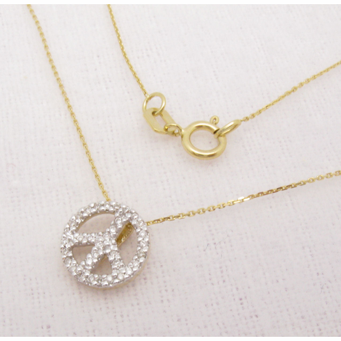 14K Yellow Gold Small Diamond Peace Sign Necklace VS2-SI1 .10ct