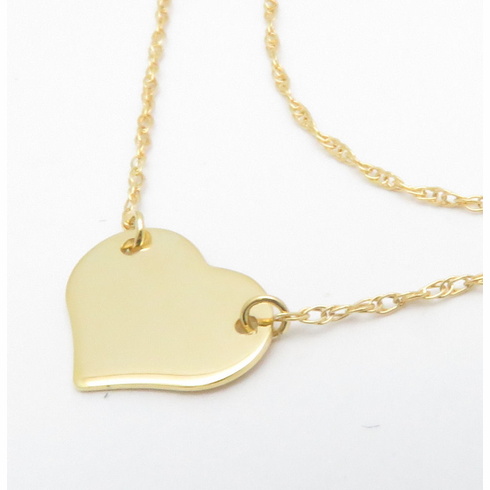 14K SOLID YELLOW GOLD HEART NECKLACE 16-18inch 3/8inch