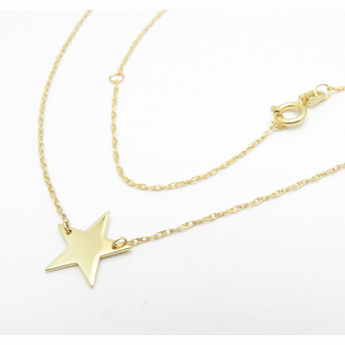14K SOLID YELLOW GOLD STAR NECKLACE 16-18inch
