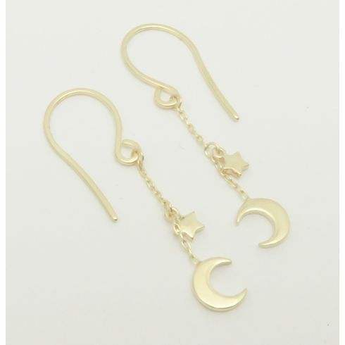 14K Yellow Gold Stars and Moon Dangle earrings