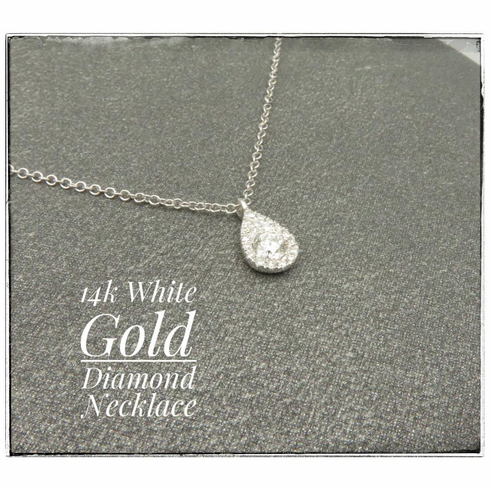 14K White Gold Diamond Dangle Drop Necklace .20ct