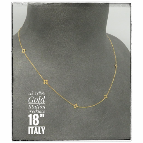 """14K Yellow Gold station necklace.  18"""" Italy"""