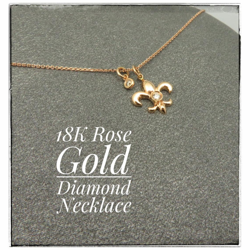 18K Rose Gold Diamond Fleur de Lis Necklace 16inch