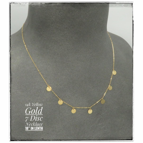 """14K Yellow Gold 7 disc dangle necklace 18"""""""