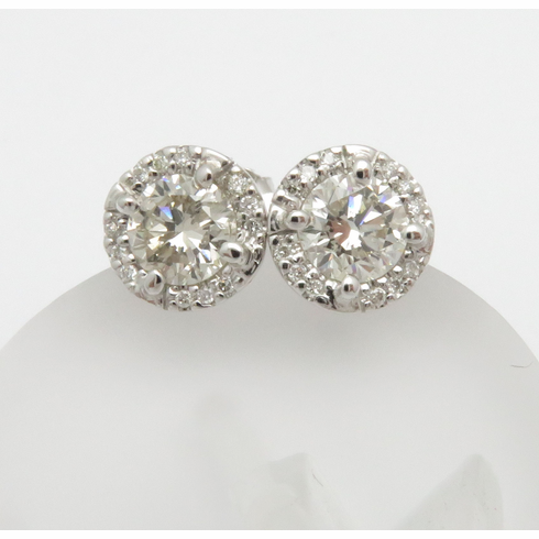 18K White Gold Diamond Stud Earrings with Halo .99ct