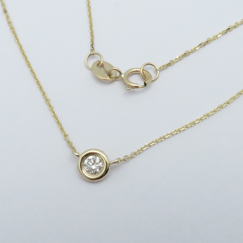 14K YELLOW GOLD BEZEL SET DIAMOND NECKLACE .12CT 16inch or 18inch