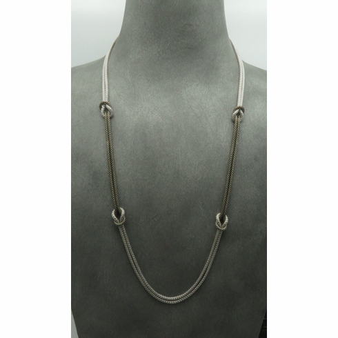 """PURE 925 STERLING SILVER 30"""" NECKLACE SQUARE KNOTS"""