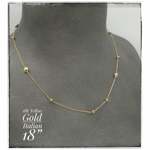 """18K Yellow Gold Necklace 18"""" in length Italy"""