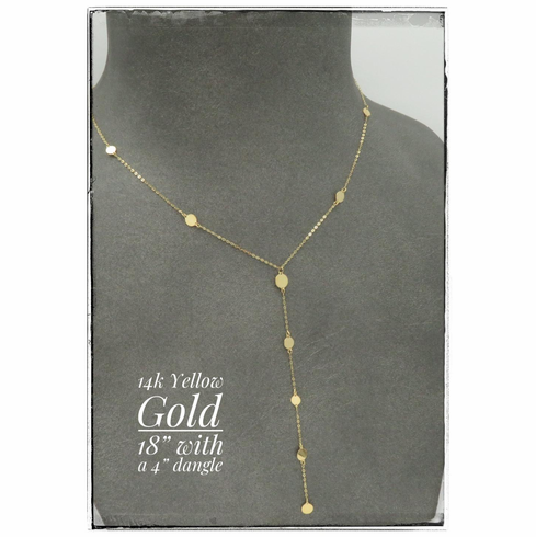 """14K Yellow Gold Dangle Drop Necklace 18"""" with 4"""" dangle"""