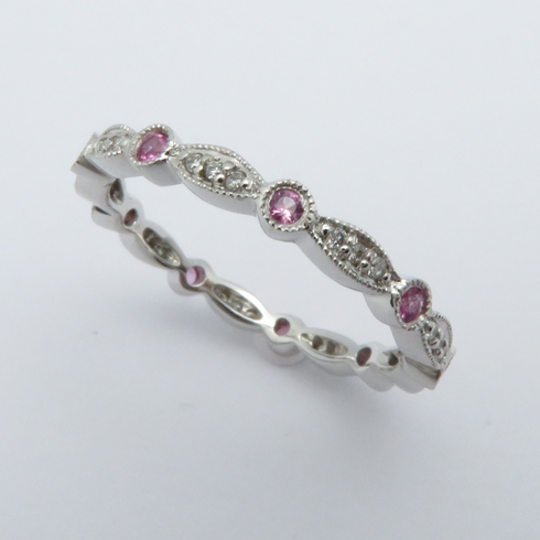 14K WHITE GOLD DIAMOND AND PINK SAPPHIRE ETERNITY BAND RING SIZE 7