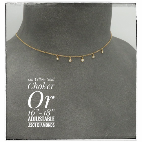 14K Yellow Gold Diamond choker or 16-18 inch necklace