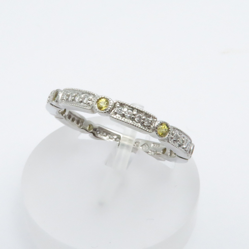 14K WHITE GOLD DIAMOND AND YELLOW SAPPHIRE ETERNITY BAND RING SIZE 6.5
