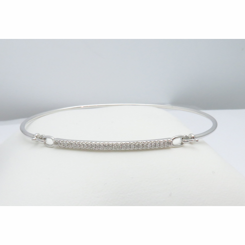 14K WHITE GOLD DIAMOND BANGLE BRACELET .08CT