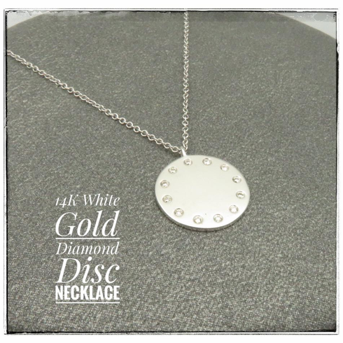 14K white gold diamond disc necklace 16-17-18 inch chain
