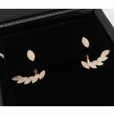 14K Rose Gold Front and Back Diamond Earrings