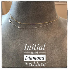 14K White or Yellow Gold Initial and Diamond Necklace