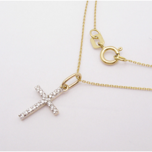 14K YELLOW GOLD DIAMOND CROSS SMALL NECKLACE VS2-SI1 .06ct