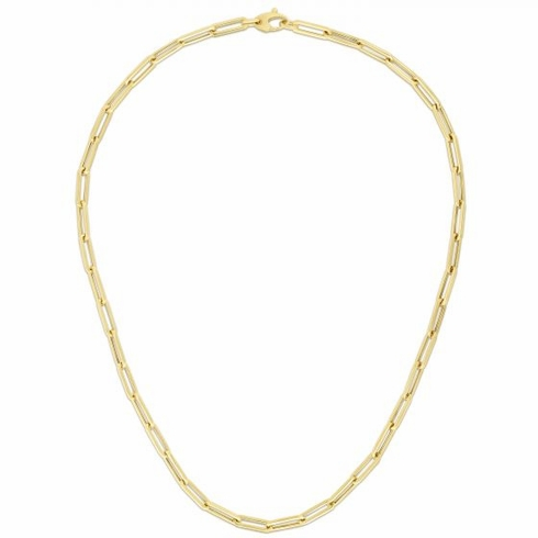Paperclip Necklace!  18 inch 4.3mm. Genuine 14K Yellow Gold