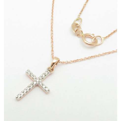 14K ROSE GOLD SMALL DIAMOND CROSS PENDANT WITH 16-18 inch CHAIN .06CT