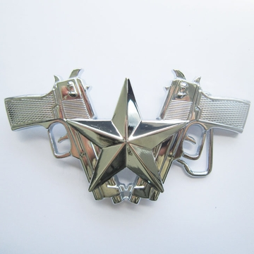 Belt Buckle (Classic Bright Silver Gun And Star)