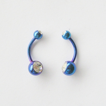 Cobalt Blue Curved Piercing Barbell | Belly Ring | Navel Barbell