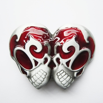 New Red Enamel Vintage Gothic EMO Rocker Double Head Skull Belt Buckle BUCKLE-SK034RD