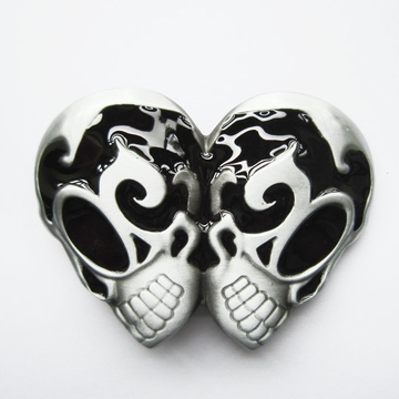 New Black Enamel Vintage Gothic EMO Rocker Double Head Skull Belt Buckle