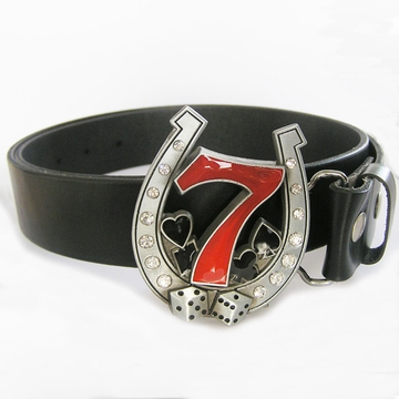 Belt | Lucky 7 Rhinestones Black Real Leather Belt