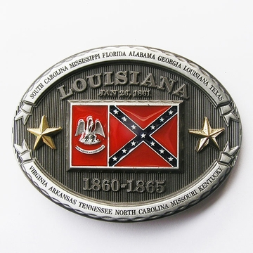 New Vintage Western Oval Louisiana State Flag Oval Belt Buckle Gurtelschnalle Boucle de ceinture BUCKLE-FG022