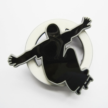 Belt Buckle (Spinning Skateboard Boy White)