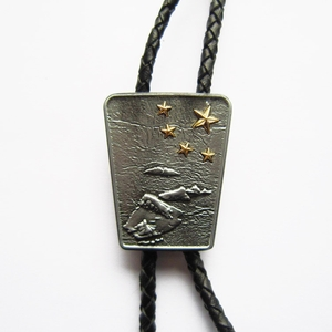 Vintage Original Gold Stars Flag Map Bolo Tie Leather Necklace