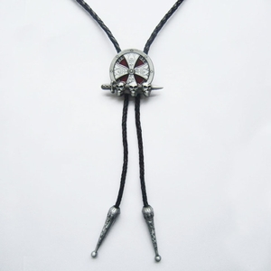 New Vintage Skull Cross Celtic Knot Wedding Bolo Tie Leather Necklace
