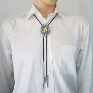 Western Tie Clips Original Initial Letter A Wedding Bolo Tie Necklace
