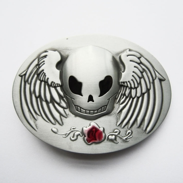 Vintage Rose Angel Wings Skull Oval Belt Buckle