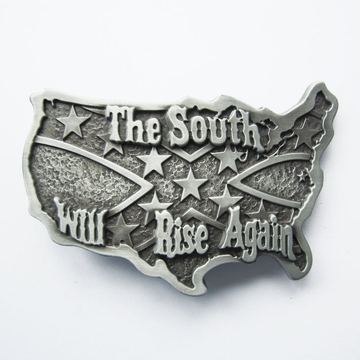 Western South Rise Again Cross Star Map Flag Belt Buckle Gurtelschnalle Boucle de ceinture