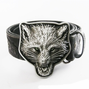 Belt (Western Wolf Head Embossed Real Leather Belt)