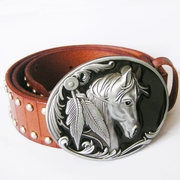 Belt | Western Horse Studded Genuine Leather Belt